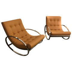 Pair of Rocking Lounge Chair Metal Leather by Renato Zevi, Italy, 1970s