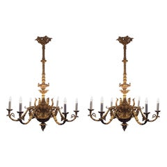 Pair of Rococo Baroque Iron Cast French Chandeliers, Gold Bronzed 6 Flames