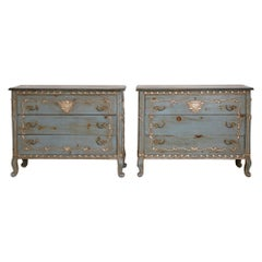 Pair of Rococo French Dressers with Silver Leaf Details