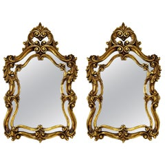 Pair of Rococo Hollywood Regency Style Gold Gilt Leaf Hanging Wall Mirrors