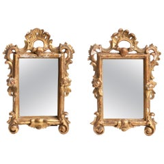 Pair of Rococo Mirrors, Carved Wood Frame, Gilt, 18th Century