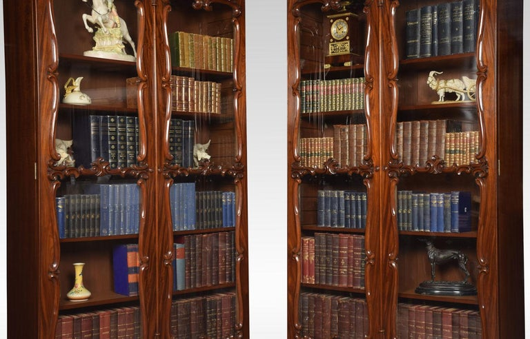 Pair of Rococo Revival Mahogany Bookcases For Sale 1