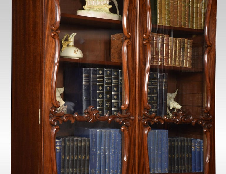 Pair of Rococo Revival Mahogany Bookcases For Sale 3