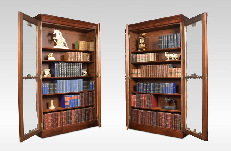Pair of Rococo Revival Mahogany Bookcases For Sale 4