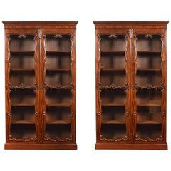 Pair of Rococo Revival Mahogany Bookcases