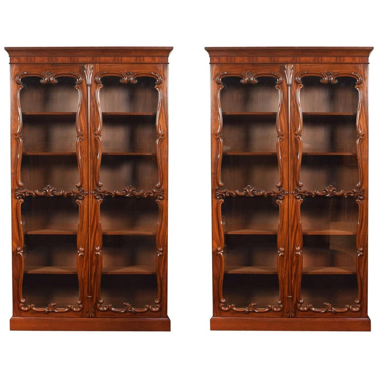 Pair of Rococo Revival Mahogany Bookcases For Sale