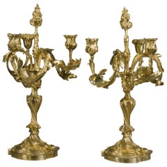 Pair of Rococo Revival Three-Light Candelabra by Henry Dasson, Dated 1881