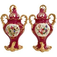Pair of Rococo Revival Vases, Samuel Alcock, circa 1840