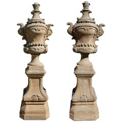 Pair of Rococo Stone Urns with Bases and Lids Aged to Look Antique