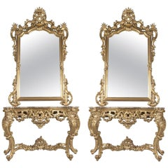 Pair of Rococo Style Console Tables and Mirrors by C. Bournique & C., circa 1890