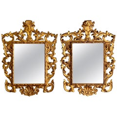 Pair of Rococo Style Frame Wall or Console Mirrors, Carved Gilded Wood Surrounds