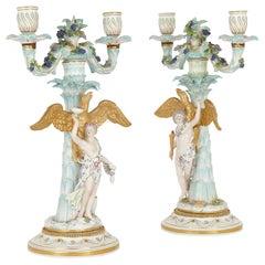 Pair of Rococo Style German Meissen Porcelain Candelabras