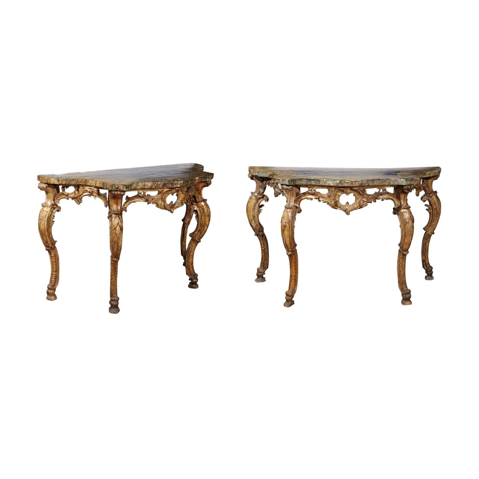 Pair of Rococo Style Giltwood Consoles with Marbleized Tops, 18th Century Italy