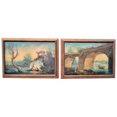 Pair of Rococo Style Landscapes or Capriccio After Hubert Robert Oils on Canvas