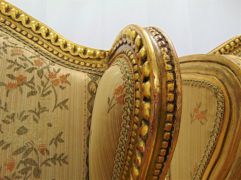 Pair of Rococo Style Vintage Wingback Gold Gilt Hand Carved Chairs For Sale 4