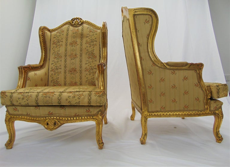 Pair of Rococo Style Vintage Wingback Gold Gilt Hand Carved Chairs For Sale 5