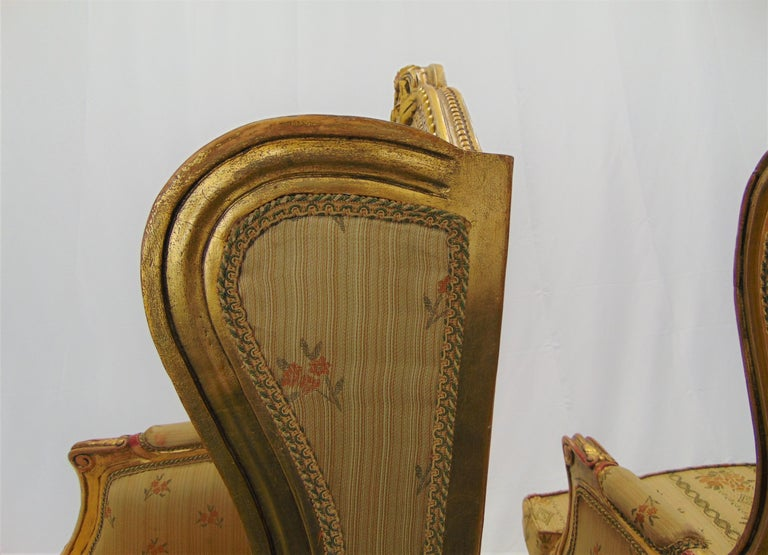 Pair of Rococo Style Vintage Wingback Gold Gilt Hand Carved Chairs For Sale 6