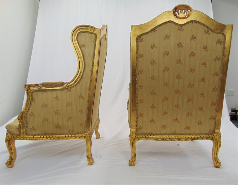 Pair of Rococo Style Vintage Wingback Gold Gilt Hand Carved Chairs For Sale 7
