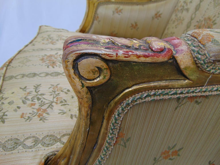 Pair of Rococo Style Vintage Wingback Gold Gilt Hand Carved Chairs For Sale 10