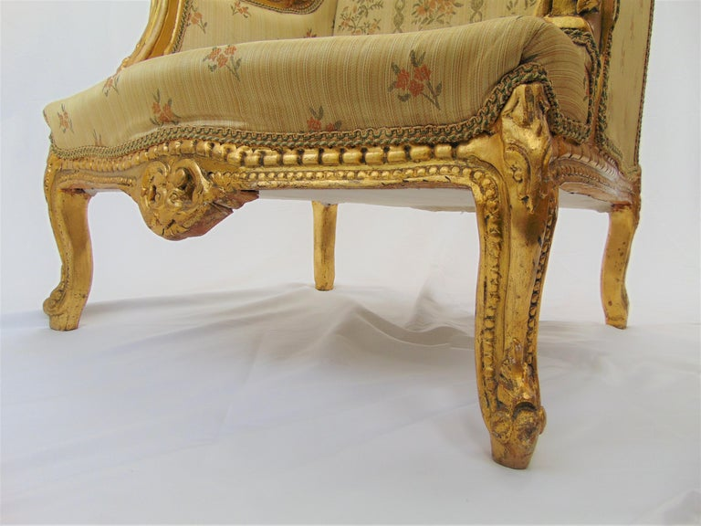 Pair of Rococo Style Vintage Wingback Gold Gilt Hand Carved Chairs For Sale 11