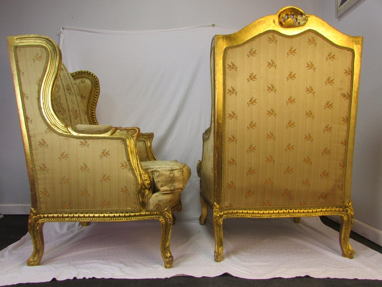 Pair of Rococo Style Vintage Wingback Gold Gilt Hand Carved Chairs For Sale 14