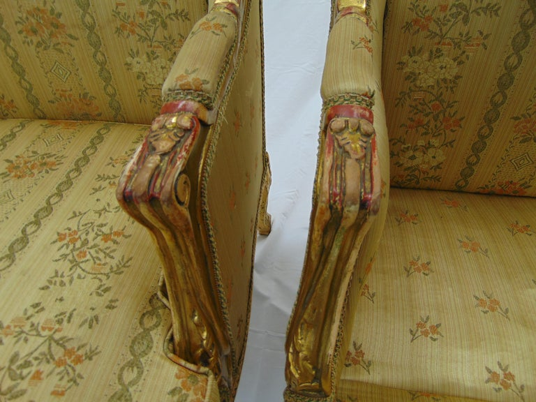 Pair of Rococo Style Vintage Wingback Gold Gilt Hand Carved Chairs In Good Condition For Sale In Tulsa, OK
