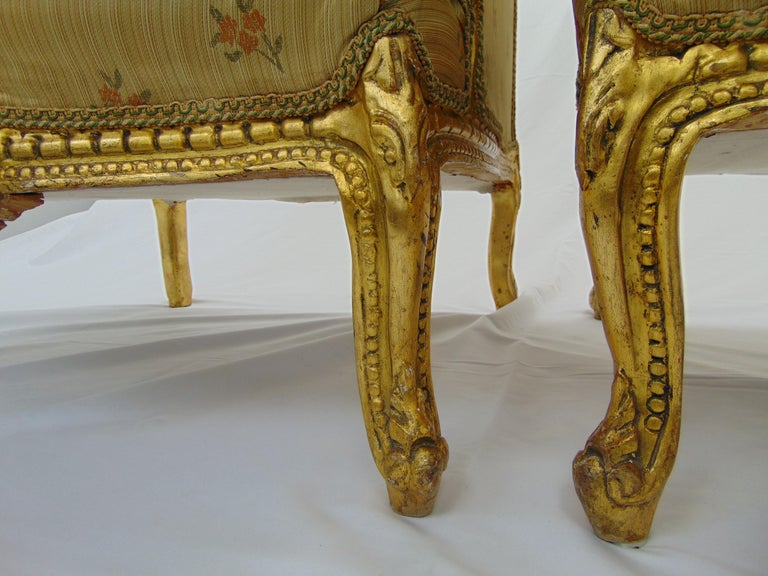 Mid-20th Century Pair of Rococo Style Vintage Wingback Gold Gilt Hand Carved Chairs For Sale