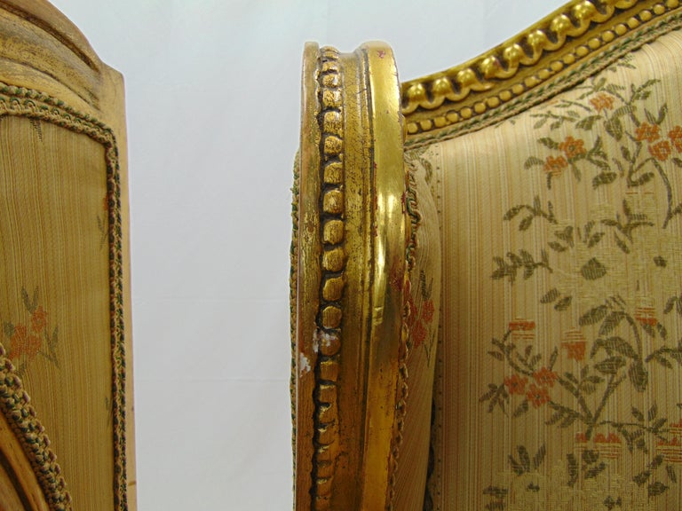 Pair of Rococo Style Vintage Wingback Gold Gilt Hand Carved Chairs For Sale 2