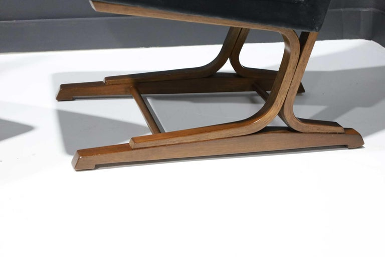 Pair of Roger Sprunger for Dunbar Cantilevered Chairs in Blue Velvet For Sale 3