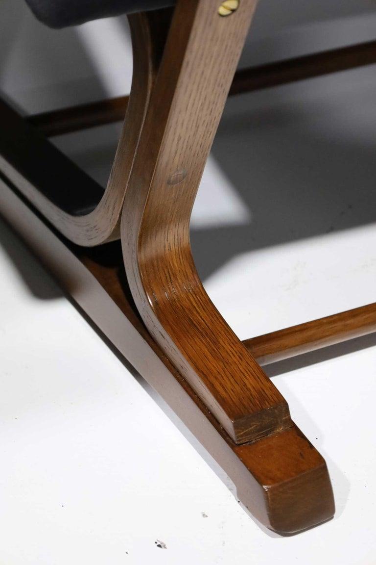 Brass Pair of Roger Sprunger for Dunbar Cantilevered Chairs in Blue Velvet For Sale