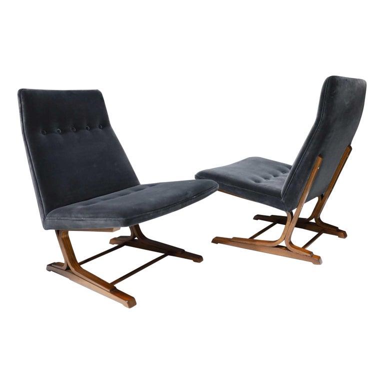 Pair of Roger Sprunger for Dunbar Cantilevered Chairs in Blue Velvet For Sale