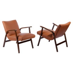 Pair of Roland Rainer Chairs Armchairs Cafe Ritter Cognac Leather Austria, 1950s