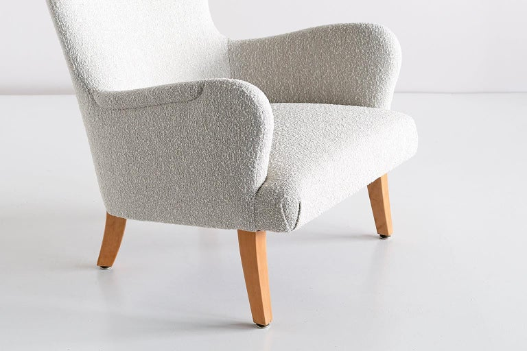 Pair of Rolf Engströmer Armchairs in Pearl Bouclé and Sycamore, Sweden, 1946 For Sale 3