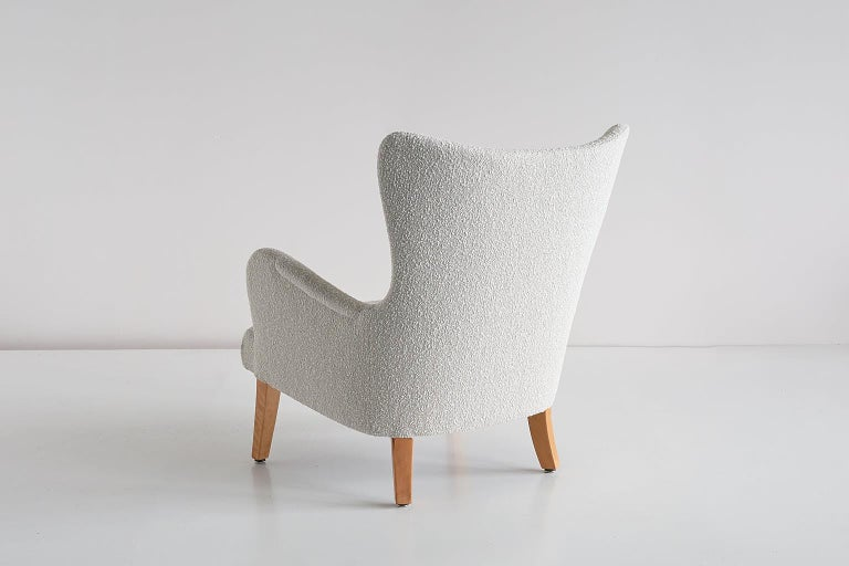 Pair of Rolf Engströmer Armchairs in Pearl Bouclé and Sycamore, Sweden, 1946 For Sale 4