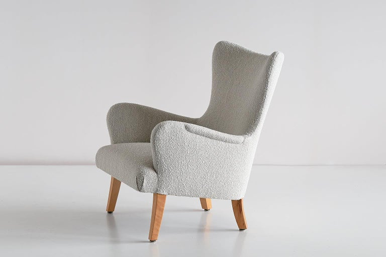 Pair of Rolf Engströmer Armchairs in Pearl Bouclé and Sycamore, Sweden, 1946 For Sale 5