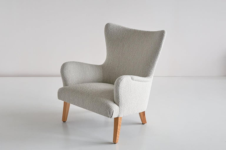 Pair of Rolf Engströmer Armchairs in Pearl Bouclé and Sycamore, Sweden, 1946 For Sale 6