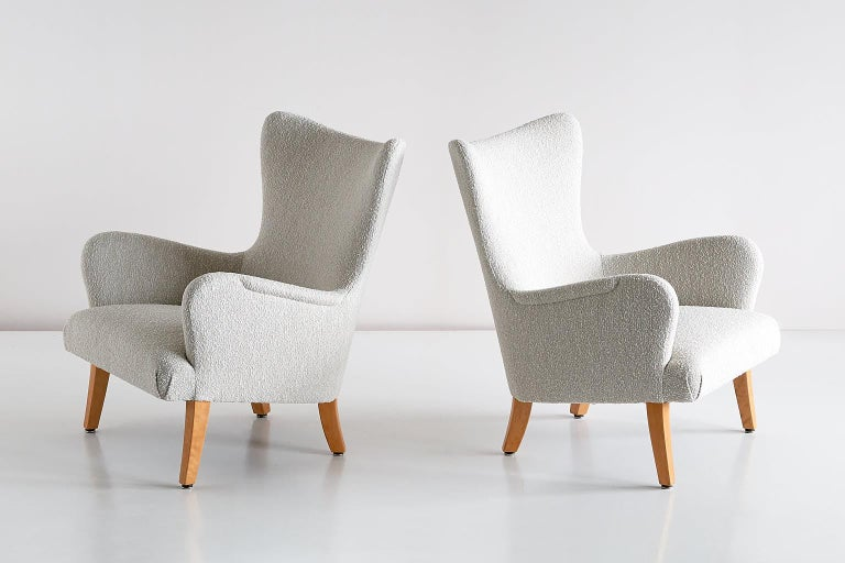 Swedish Pair of Rolf Engströmer Armchairs in Pearl Bouclé and Sycamore, Sweden, 1946 For Sale