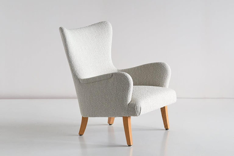 Fabric Pair of Rolf Engströmer Armchairs in Pearl Bouclé and Sycamore, Sweden, 1946 For Sale