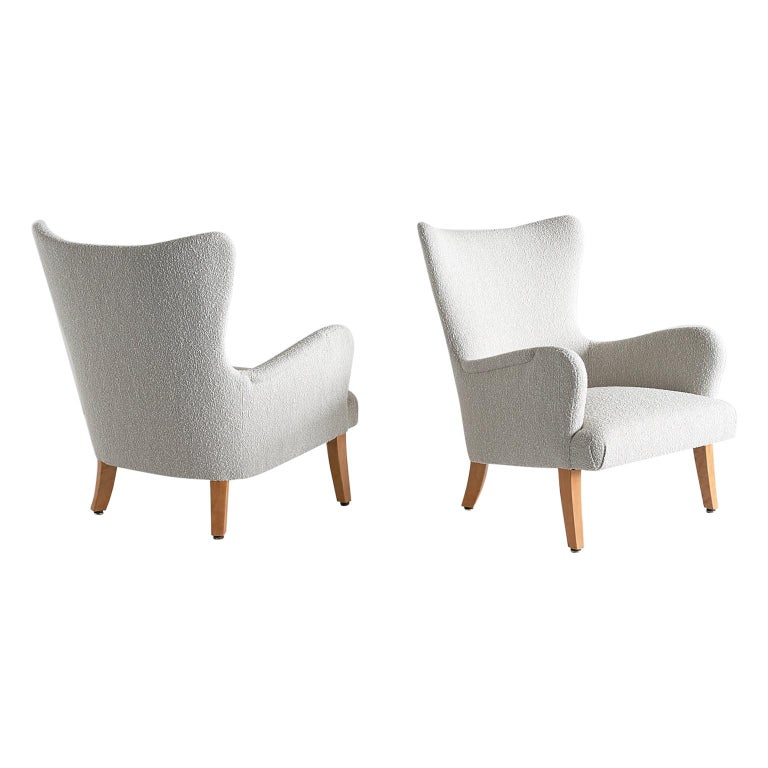 Pair of Rolf Engströmer Armchairs in Pearl Bouclé and Sycamore, Sweden, 1946 For Sale