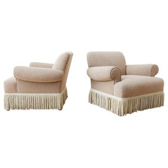 Pair of Rolled Arm Club or Armchairs with Bullion Fringe