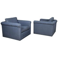 Pair of Rolled Arm Tuxedo Style Cube Club Chairs Art Deco Hollywood Regency