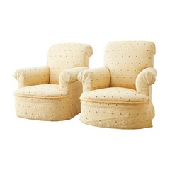 Pair of Rolled Arm Upholstered Club Chairs