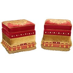 Pair of Rolling Embroidered Tassled Hollywood Regency Squarish Ottomans Stools