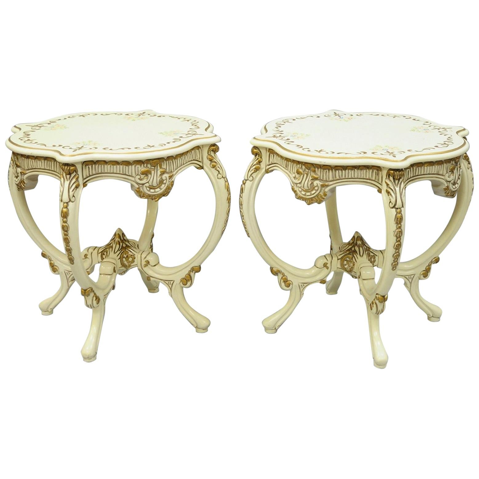 Beau Pair Of Roma Furniture French Provincial Louis XV Floral Painted End Tables  For Sale