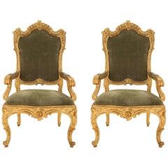 Pair of Roman 18th Century Louis XV Period Giltwood Throne Armchairs