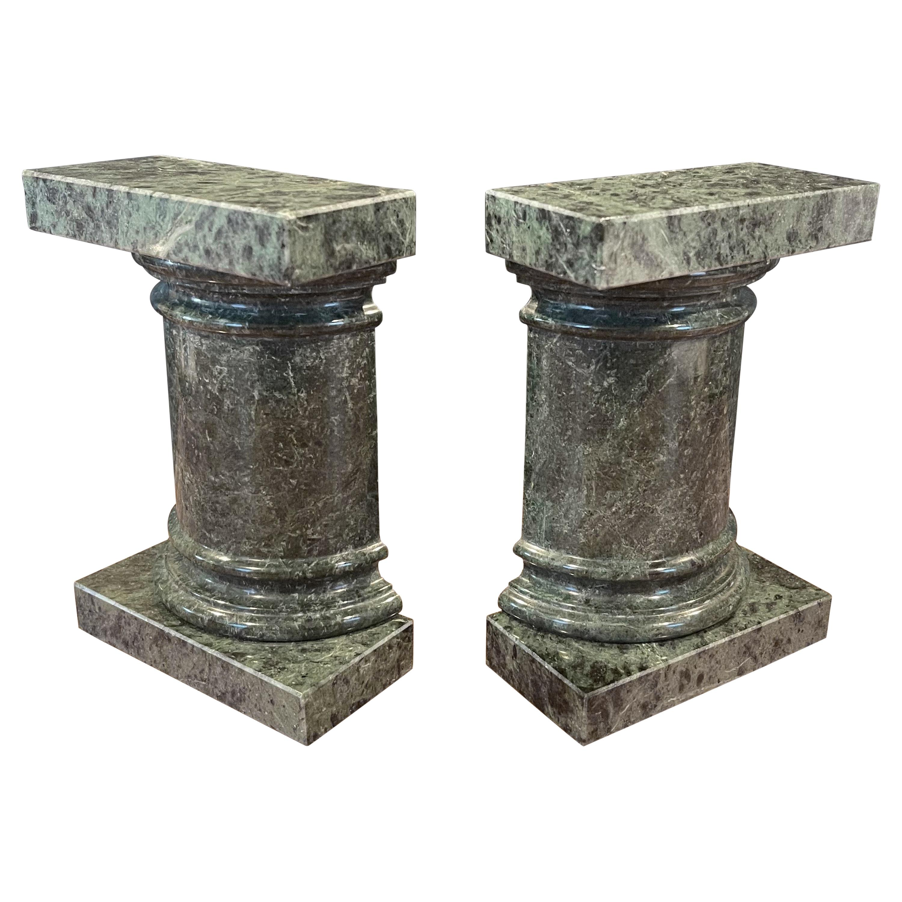 Pair of Roman Column Marble Bookends