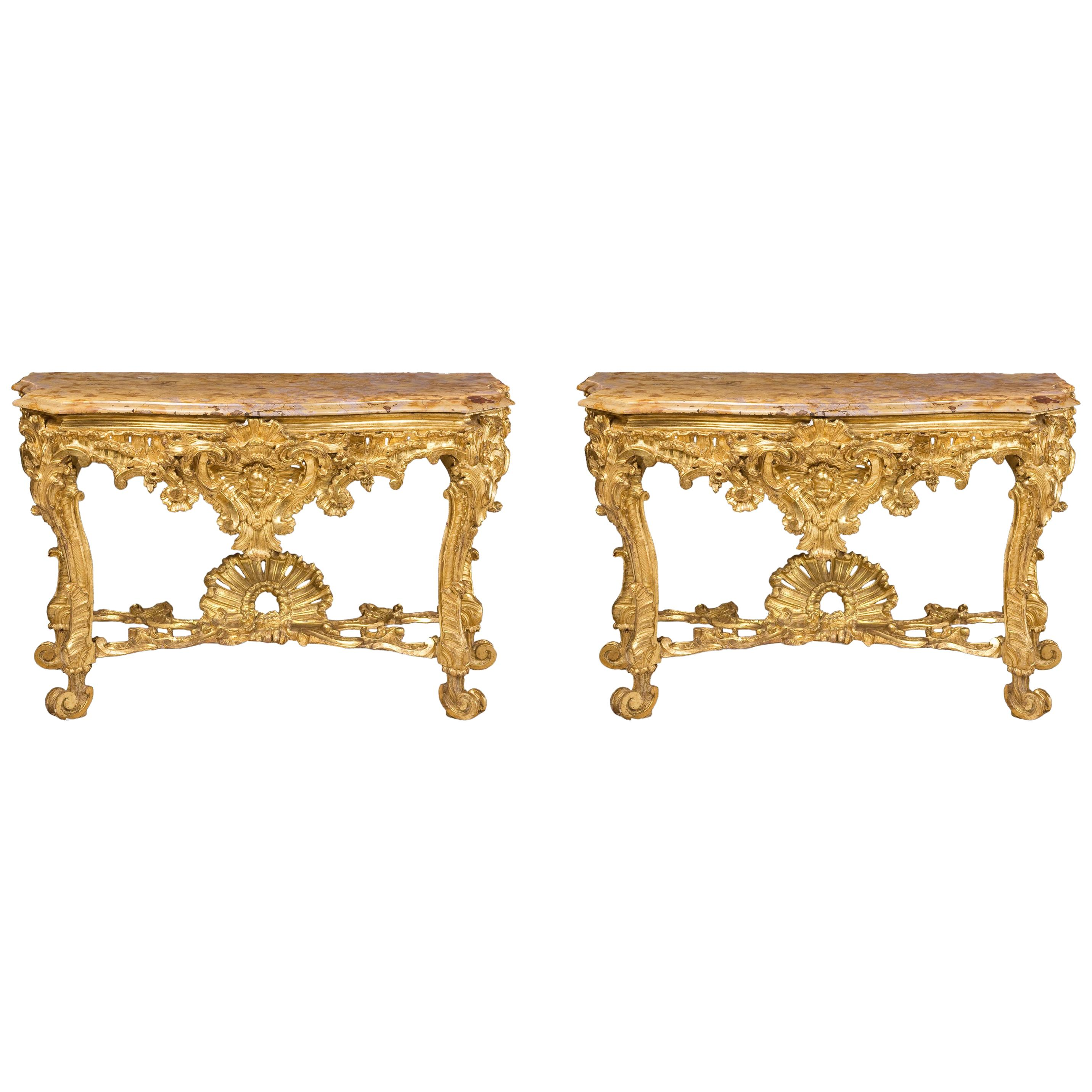 Pair of Roman Consoles, 18th Century