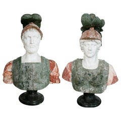 Pair of Roman Hand Carved Busts Using Different Marbles