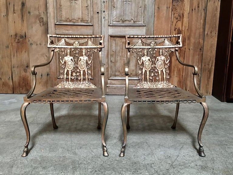 Pair of Romanesque Garden Chairs For Sale 3