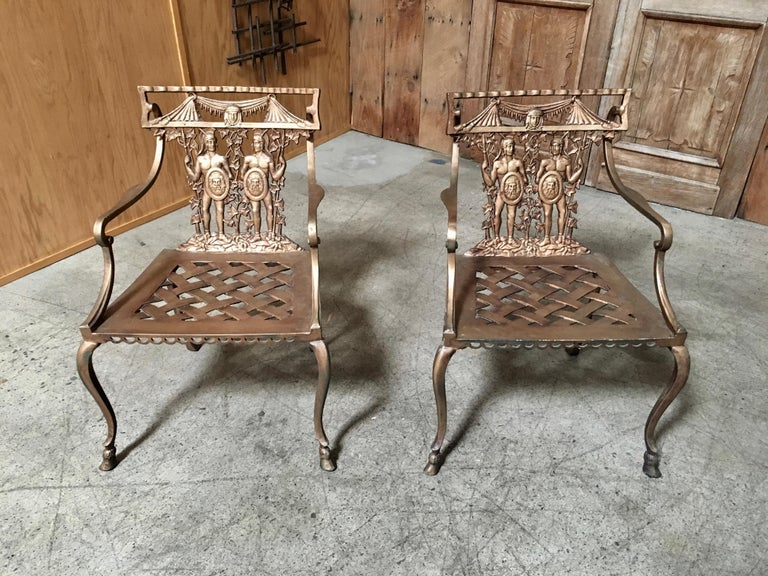 Mexican Pair of Romanesque Garden Chairs For Sale